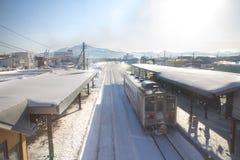 En stor snöstorm på snöbergområde i Hokkaido, Japan Royaltyfri Fotografi