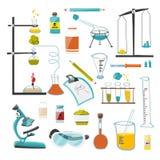 En stor uppsättning av apparater och utrustning för vetenskapliga och forskningexperiment för kemikalie, vektor royaltyfri illustrationer