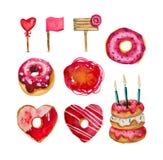 En stor uppsättning av donuts och dekorativa beståndsdelar på en vit bakgrund Arkivfoton