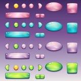 En stor uppsättning av glamorösa knappar av olika former för användargränssnittet och rengöringsdukdesignen vektor illustrationer