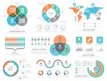 En stor uppsättning av statistiska infographic beståndsdelar för affär Royaltyfri Bild