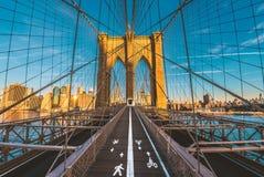En storartad sikt av den lägre Manhattan och Brooklyn bron royaltyfria foton