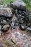 En ström bland stenar och mossa Arkivfoto