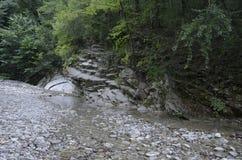 En strömma i bergen Arkivfoto