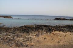 En strand i aftonen Arkivbilder