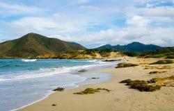 En strand med berg i baksidan Arkivfoto