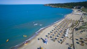 En strand på Blacket Sea, Bulgarien arkivbild