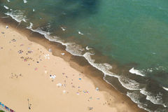 En strand på Lake Michigan Arkivfoton