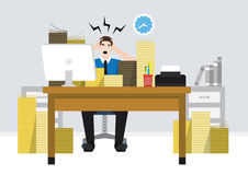En stressig anställdarbetare Arkivfoto