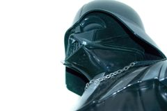 En studio sköt av ett Darth Vader handlingdiagram från filmserien Star Wars fotografering för bildbyråer