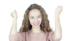 En succesvol succes, Vrouw die, Jong, vieren toejuichen, stock footage