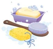 En svamp, en borste och en tvål vektor illustrationer