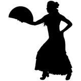 En svart kontur av kvinnlig flamencodansare Arkivfoto