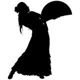 En svart kontur av kvinnlig flamencodansare Royaltyfria Bilder
