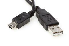 En svart miniUSB-kabel arkivfoton