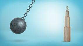 En svart som havererar bollen som svänger i farlig closeness till ett affärstorn med ett USD tecken på överkanten royaltyfri foto