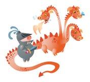 En svinriddare med ett svärd och en drake royaltyfri illustrationer