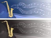 En-tête avec le saxophone Photo stock