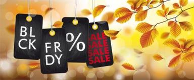En-tête de feuillage de hêtre d'Autumn Black Friday Price Stickers Photos stock