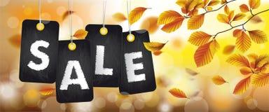 En-tête de feuillage de hêtre d'Autumn Black Price Stickers Sale Images libres de droits