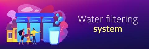 En-tête de filtrage de bannière de concept de système de l'eau illustration libre de droits