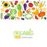 En-tête de légumes et de fruits de vecteur Photos stock