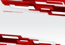 En-tête de résumé rouge et formes géométriques brillantes blanches recouvrant le fond futuriste en mouvement de présentation de s illustration de vecteur