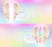 En-tête de site Web de Reiki Angel Wings et de sept Chakras illustration de vecteur