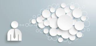En-tête de Speech Bubbles Circles d'homme d'affaires illustration stock