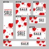 En-tête de vente de Saint-Valentin et ensemble de bannière illustration libre de droits