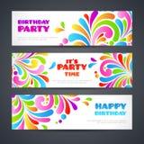 En-tête fleuri de bannières de partie d'éclaboussure de célébration colorée Scénographie ornementale de calibre de cartes de voeu illustration libre de droits