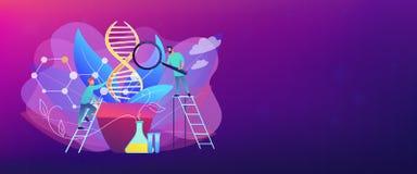 En-tête génétiquement modifié de bannière de concept d'usines illustration de vecteur