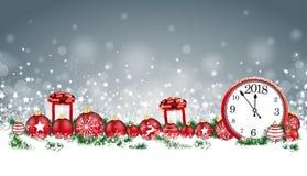 En-tête Gray Snowflakes Baubles Gifts Clock 2018 de carte de Noël illustration stock