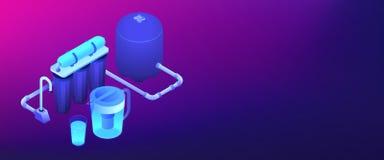 En-tête isométrique de filtrage de la bannière 3D de système de l'eau illustration stock