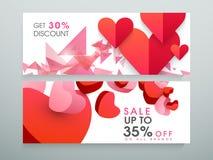 En-tête ou bannière de site Web de vente avec le coeur Image libre de droits