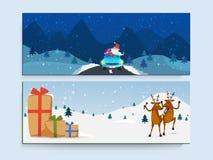 En-tête ou bannière de site Web réglée pour Noël Images stock