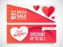 En-tête ou bannière de Web de vente pour la Saint-Valentin illustration de vecteur
