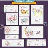 En-têtes ou bannières sociaux de media de célébration d'Eid Mubarak Photographie stock