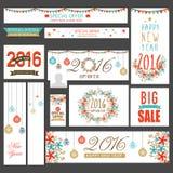 En-têtes sociaux de media de vente pour la nouvelle année et le Noël Image stock