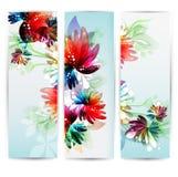 En-têtes verticaux de fleur de collection Photos stock