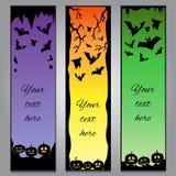 En-têtes verticaux de Halloween avec les éléments et le fond noirs de gradient Photo libre de droits