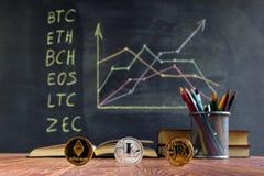 En tabell med böcker på bakgrunden av grafer på en svart tavla Lära crypto valuta i skola Begrepp en ny bildande sub Arkivbilder
