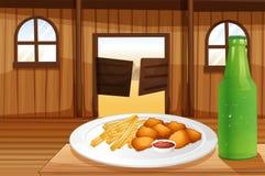 En tabell med en platta av mat och en sodavatten royaltyfri illustrationer