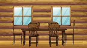 En tabell och stolar stock illustrationer