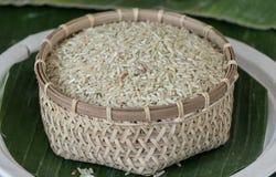 En Tailandia tenga gusto del arroz pegajoso blanco Fotos de archivo libres de regalías