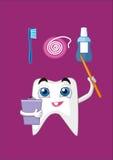 En tand med en pekare indikerar hur man tar omsorg av dina tänder riktigt stock illustrationer