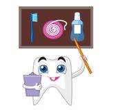 En tand med en pekare indikerar hur man tar omsorg av dina tänder riktigt royaltyfri illustrationer