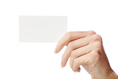 En tarjeta de la mano de s de las mujeres ' Imagen de archivo libre de regalías