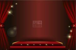 En teateretapp med en gardinillustration Royaltyfri Foto
