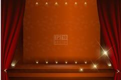 En teateretapp med en gardinillustration arkivfoton
